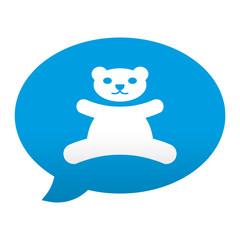 Etiqueta tipo app azul comentario simbolo osito de peluche