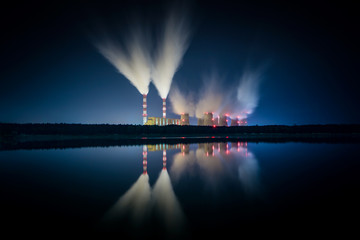 Power plant at night.