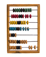 Vintage kids wooden abacus on  white isolated background