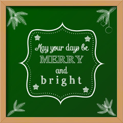 "chalkboard sign with text ""merry and bright"""