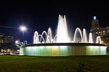 Fountain in Catalonia Plaza at Barcelona Spain