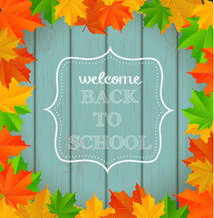 "Chalkboard sign ""back to school"" on wooden background"