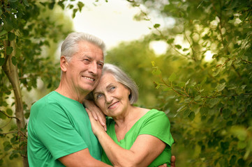 Portrait of senior couple in forest