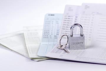 Lock and key on passbook