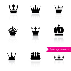Crown icons set.