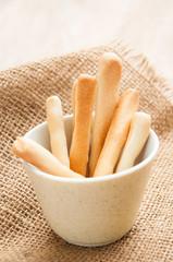 Breadsticks on burlap