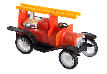 Toy car on white isolated background