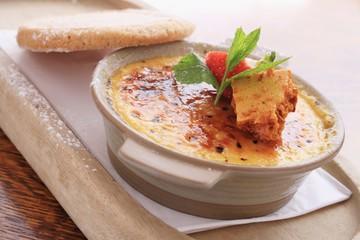 creme brulee with cinder toffee dessert