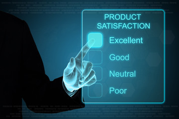 business hand clicking product satisfaction on touch screen