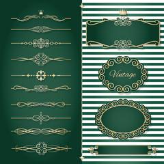 Vintage golden frames, dividers and page decoration set.