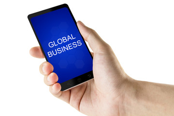 global business word on digital smart phone