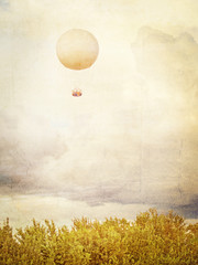 Vintage picture of Tethered aerostat balloon. Place for text.