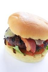 cbacon and cheese burger in brioche bun