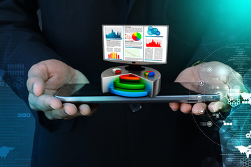 Financial report & statistics on computer