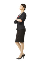 Business woman in suit, full length portrait white isolated