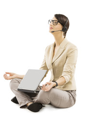 support operator relax with notebook headset, business woman