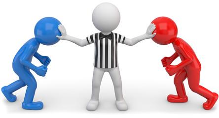 Streitschlichter Schiedsrichter gestreift rot blau