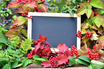 Tafel Herbst altes Holz