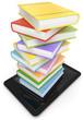 Tablet mit Bücherstapel