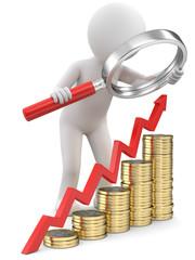 Wachstumanalyse Männchen mit Lupe und Geld