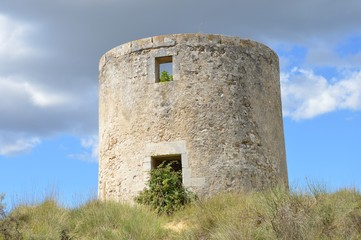 Watch-tower on the country side in Languedoc-Roussillon - France