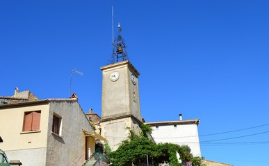 Clock tower in a small village in Southern France.