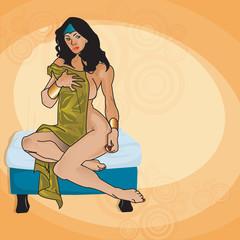sexy woman on ottoman