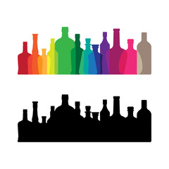 Colorful whine and whiskey bottle icon