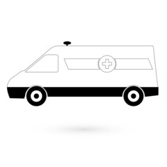 White icon white ambulance. Raster