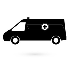 Black icon white ambulance. Raster.