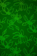 An exotic green color  floral pattern weaved fabric as textural