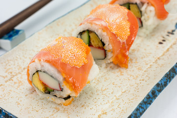California Maki Sushi with Masago - Roll made of Crab Meat