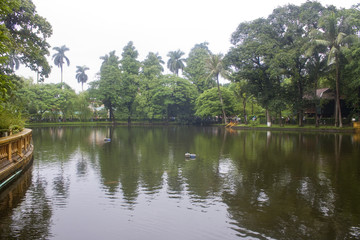Pond in a garden at Ho Chi Minh's Residence in Hanoi, Vietnam