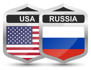 USA vs. Russia – Metal Shield Icons
