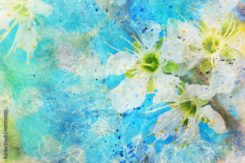 messy watercolor splatter and blooming spring twig - 68906005