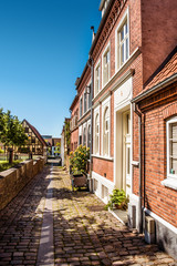 Oldfashioned street architecture with apartments