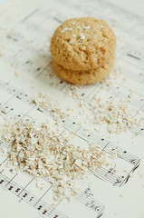 Oatmeal cookies with selective focus on oatmeal flakes
