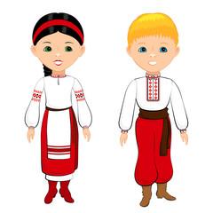 Children in Ukrainian national costumes