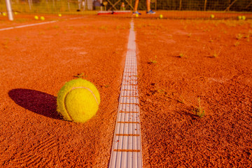 Ball at a tennis training session