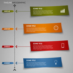 Time line info graphic colored striped paper template