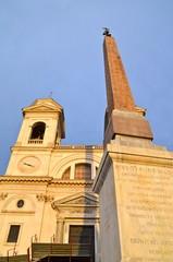 """Church of Trinità dei Monti with """"Obelisco Sallustiano"""" in Rome"""