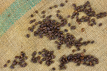 Coffee beans on Burlap Bag.