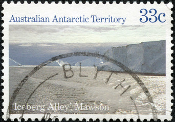 stamp printed in Australian shows Iceberg Alley, Mawson