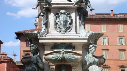 Fountain of Neptune on Piazza del Nettuno in Bologna, Italy