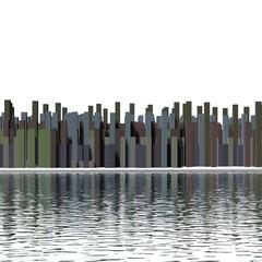 Aanzicht stad vanaf het water