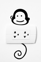 Plug and monkey painting.