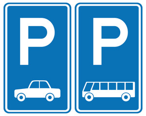 Park area sign for Cars and Bus