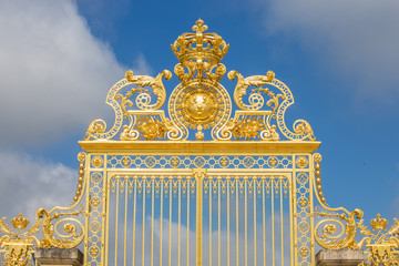 Beautiful gate of Versailles palace detailed fence near Paris is