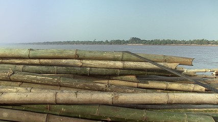 Bamboo rafts. Bamboo cane tied on pile (4)