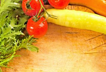 fresh vegetables on wood cutting board